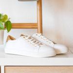 Basket Vegan blanc, semelle blanche avec détails dorés