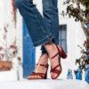 Sandale brique vegan bi-matière et ses détails dorés