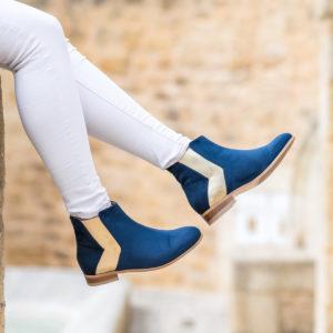 Bottines plates bleu femme vegan écologiques d'occasion Licorne l'Aurore par Minuit sur Terre