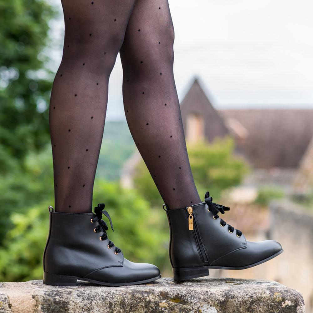 Bottines à lacets noires pour femme vegan écologiques d'occasion Mystère l'Aurore par Minuit sur Terre