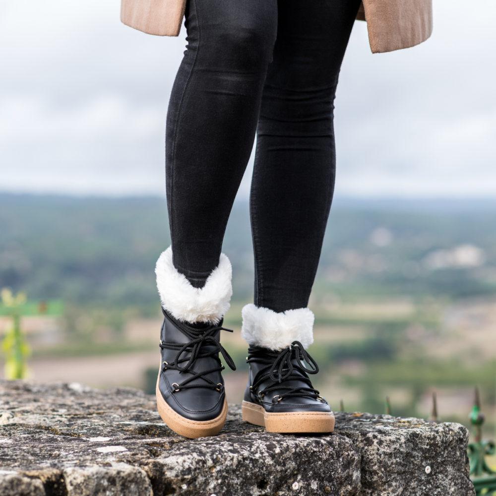 Bottines fourrées vegan écologiques pour femme d'occasion Yéti noir l'Aurore par Minuit sur Terre