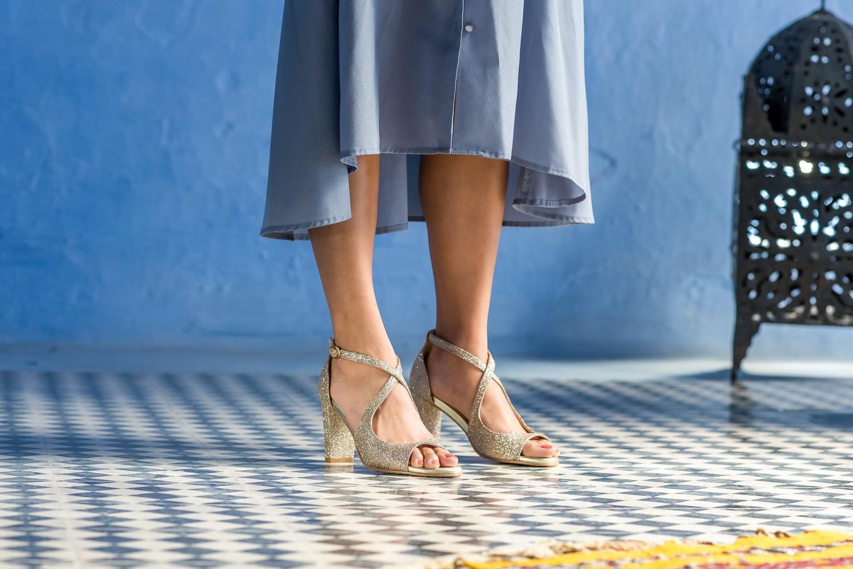 Sandales à talon haut dorées or à paillettes Agadir vegan Minuit sur Terre