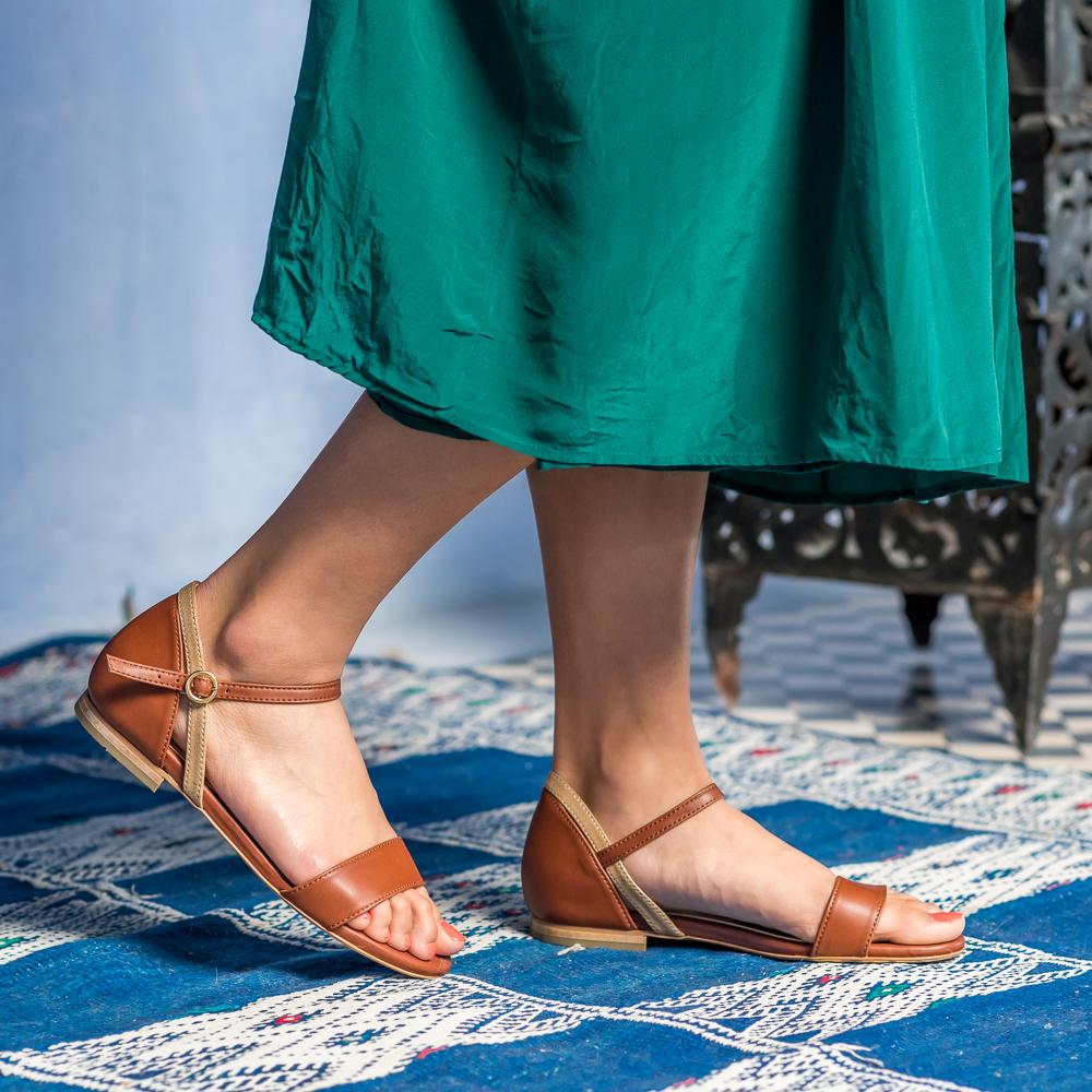 Sandales plates camel vegan femme écologiques Argan Minuit sur Terre