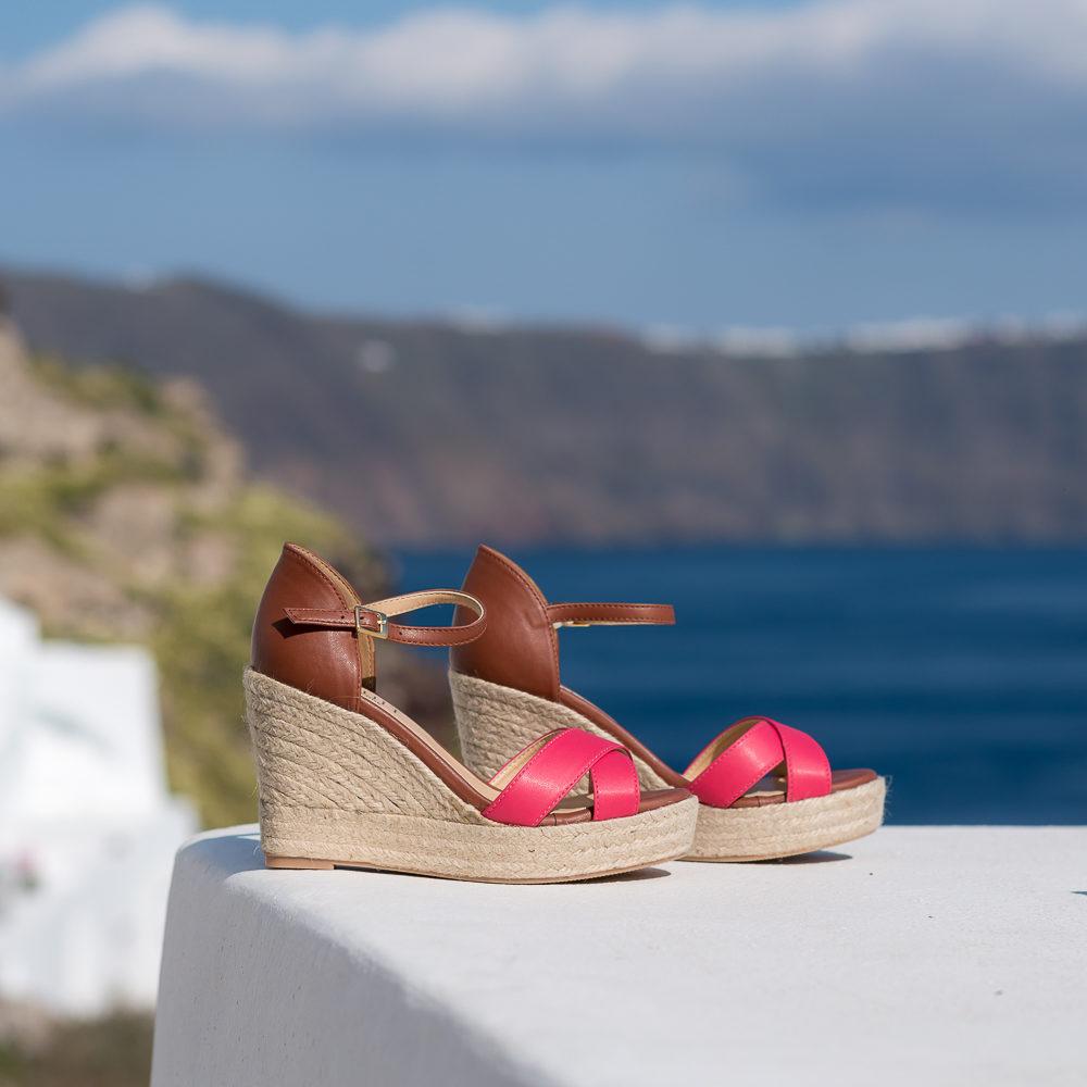 Espadrilles à talons compensés vegan écologiques marrons camel et rose framboise pour femme d'occasion Cyclades l'Aurore par Minuit sur Terre