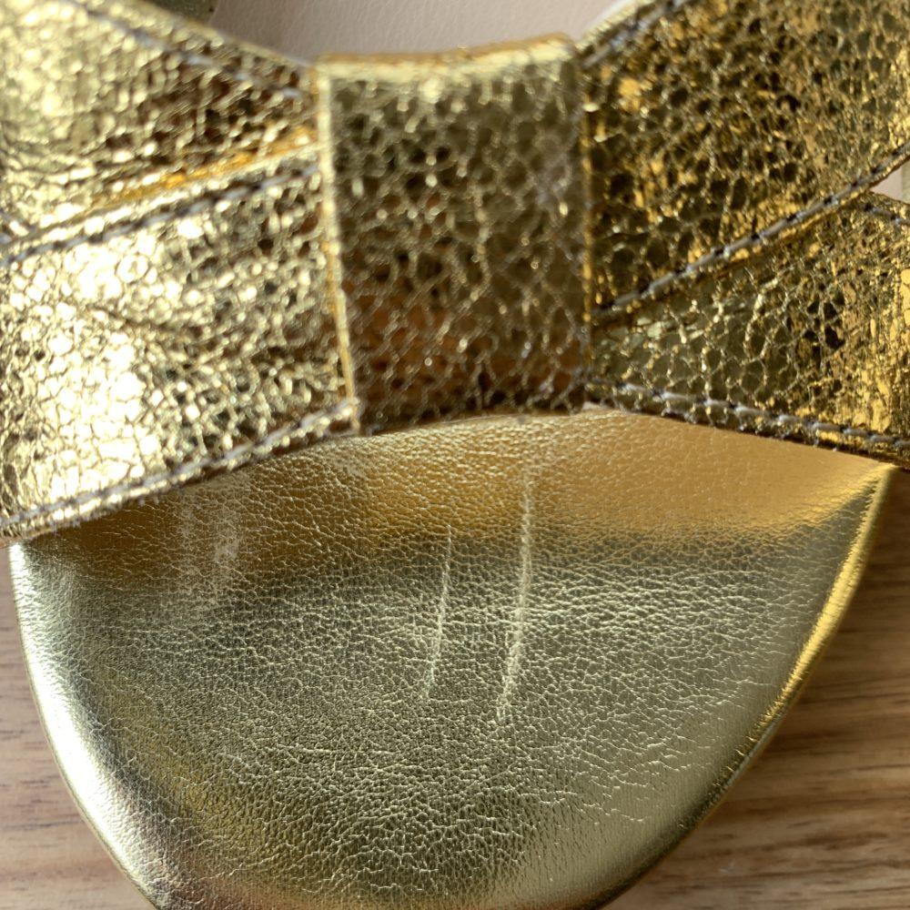 Sandales à talons dorées or vegan écologiques d'occasion l'Aurore