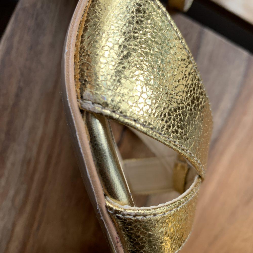 Sandales à talons dorées or vegan pour femme d'occasion l'Aurore