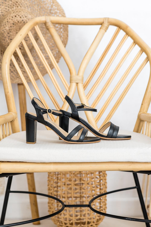 Sandales à talons noires vegan écologiques d'occasion pour femme Bonifacio l'Aurore par Minuit sur Terre