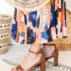 Sandales à talons pour femme marrons camel vegan écologiques Aléria l'Aurore par Minuit sur Terre