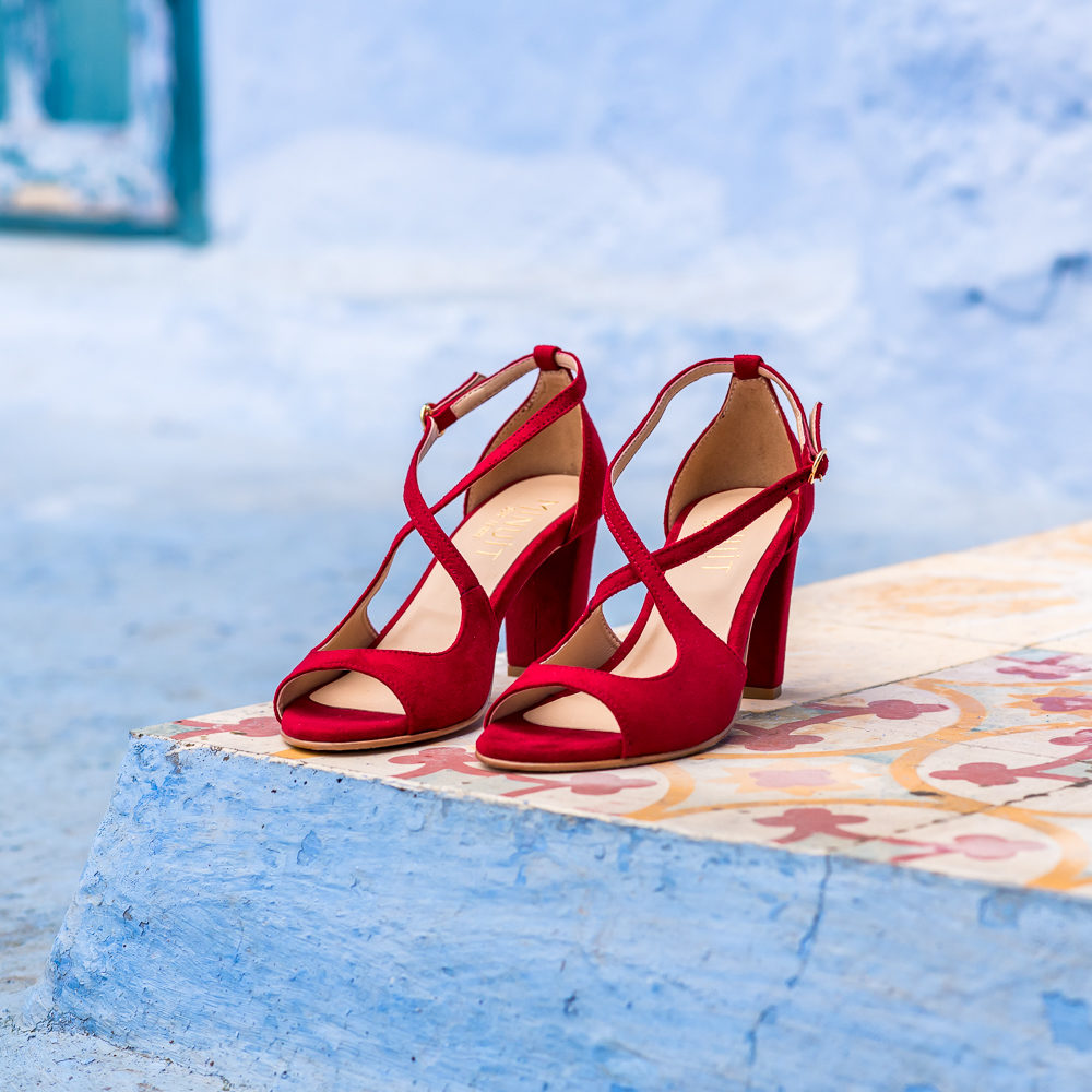 Sandales à talons rouges vegan écologiques pour femme d'occasion Agadir l'Aurore par Minuit sur Terre
