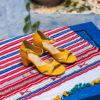 Sandales à talons vegan écologiques jaunes safran pour femme d'occasion Médina l'Aurore par Minuit sur Terre