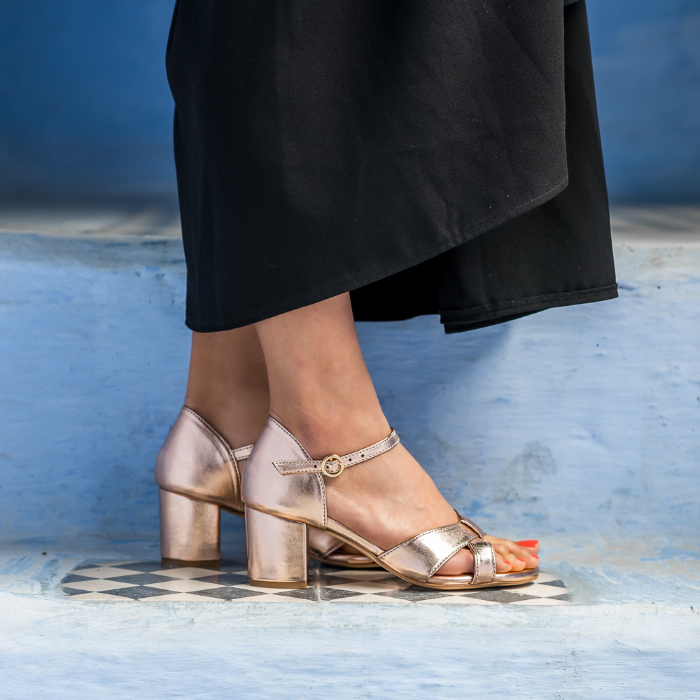 Sandales à talon rose gold vegan écologiques d'occasion Médina l'Aurore par Minuit sur Terre