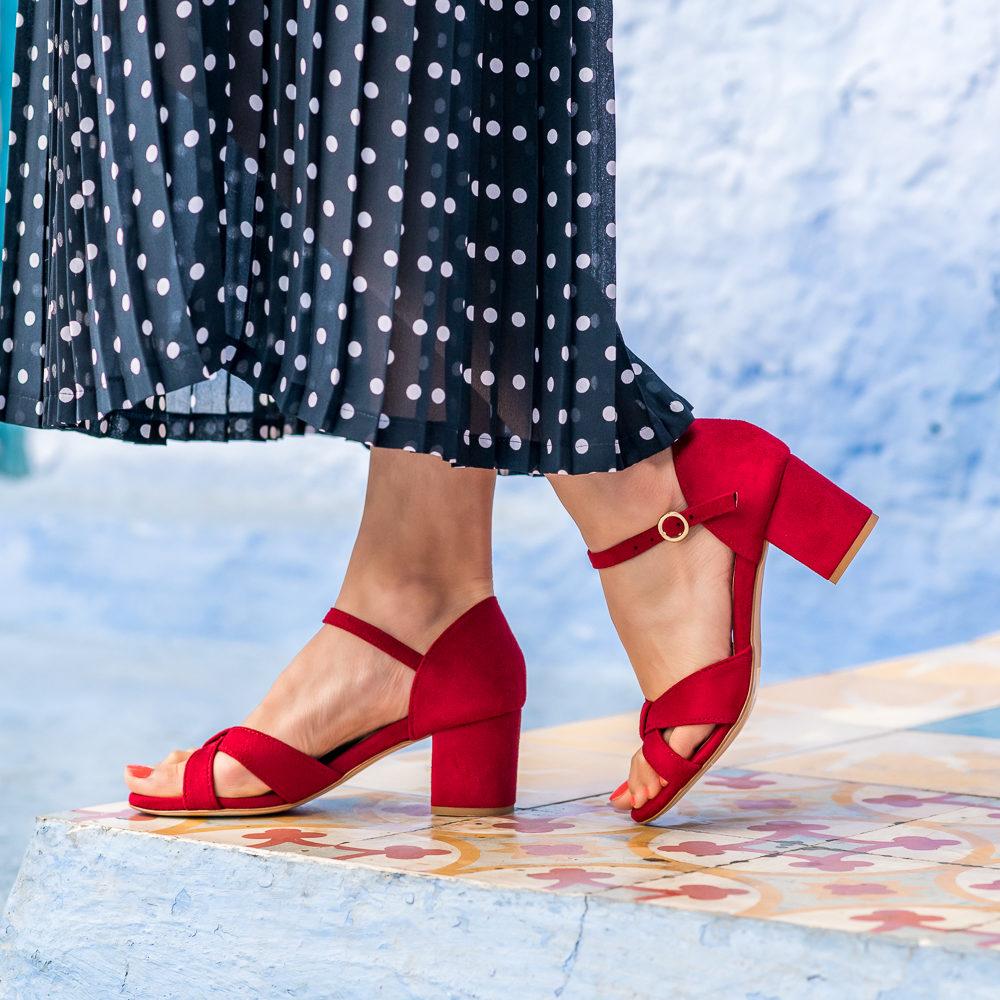Sandales à talons rouges femme vegan écologiques d'occasion l'Aurore par Minuit sur Terre