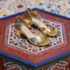 Sandales vegan dorées or à talons d'occasion Médina l'Aurore par Minuit sur Terre