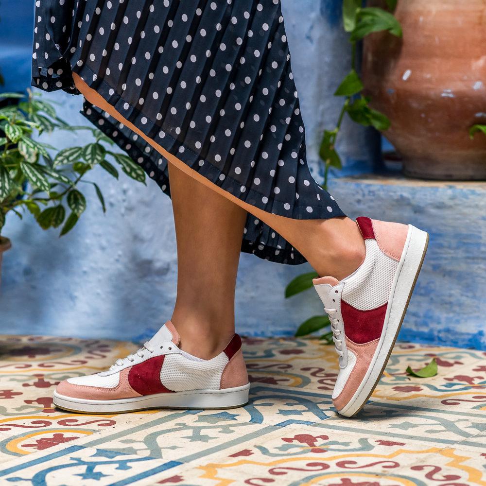 Baskets vegan recyclées pour femme blanches roses rouges Orient d'occasion l'Aurore par Minuit sur Terre