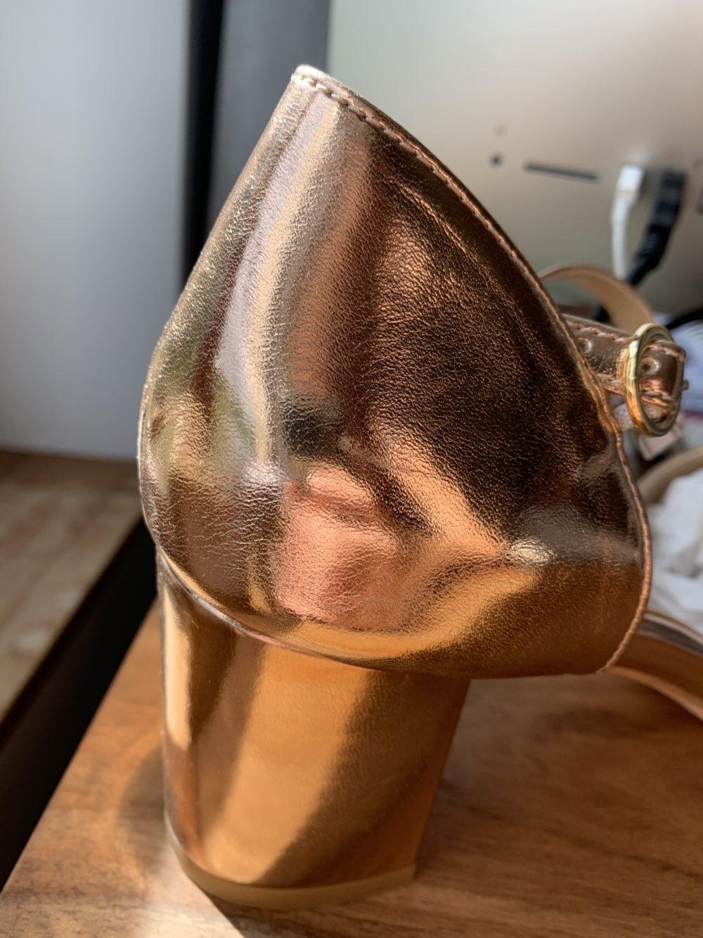 Sandales à talons rose gold vegan écologiques d'occasion