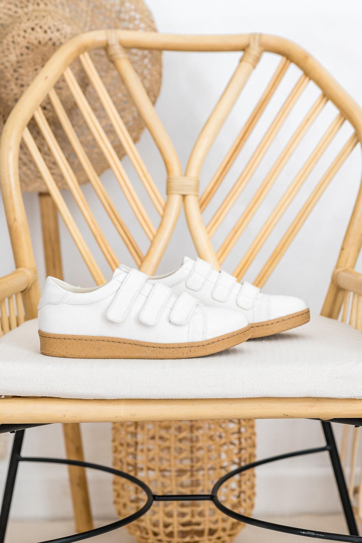 Baskets à scratch en tissus vegan écologiques blanc écru d'occasion l'Aurore par Minuit sur Terre