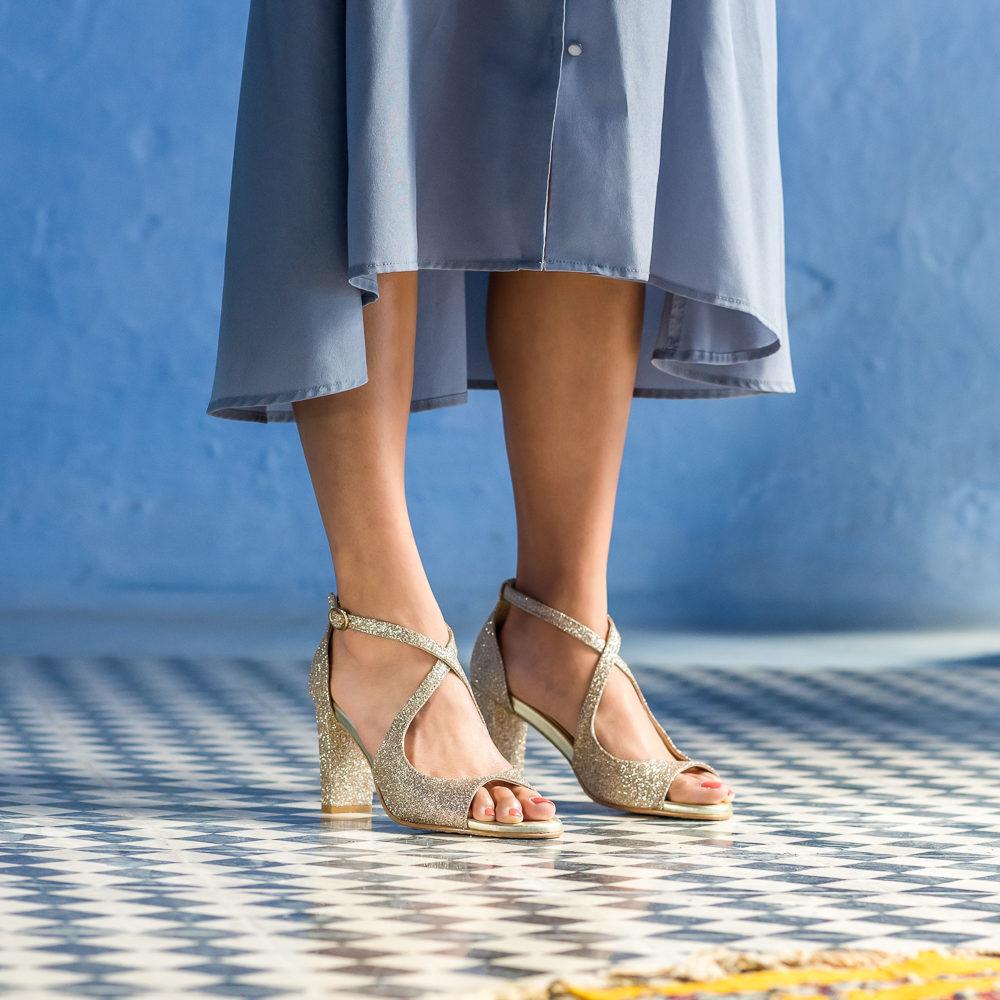 Sandales à talons vegan écologiques dorées or à paillettes pour femme d'occasion Agadir l'Aurore par Minuit sur Terre