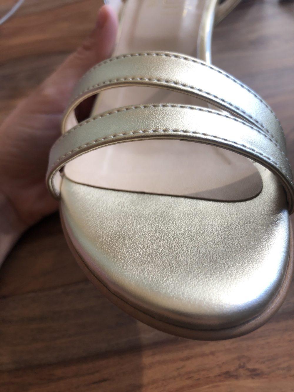 Sandales à talon dorées or vegan écologiques d'occasion Bonifacio l'Aurore par Minuit sur Terre