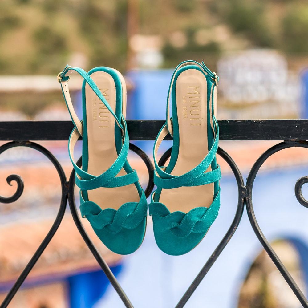 Sandales bleu vert jade vegan écoresponsables pour femme d'occasion Muscade l'Aurore par Minuit sur Terre