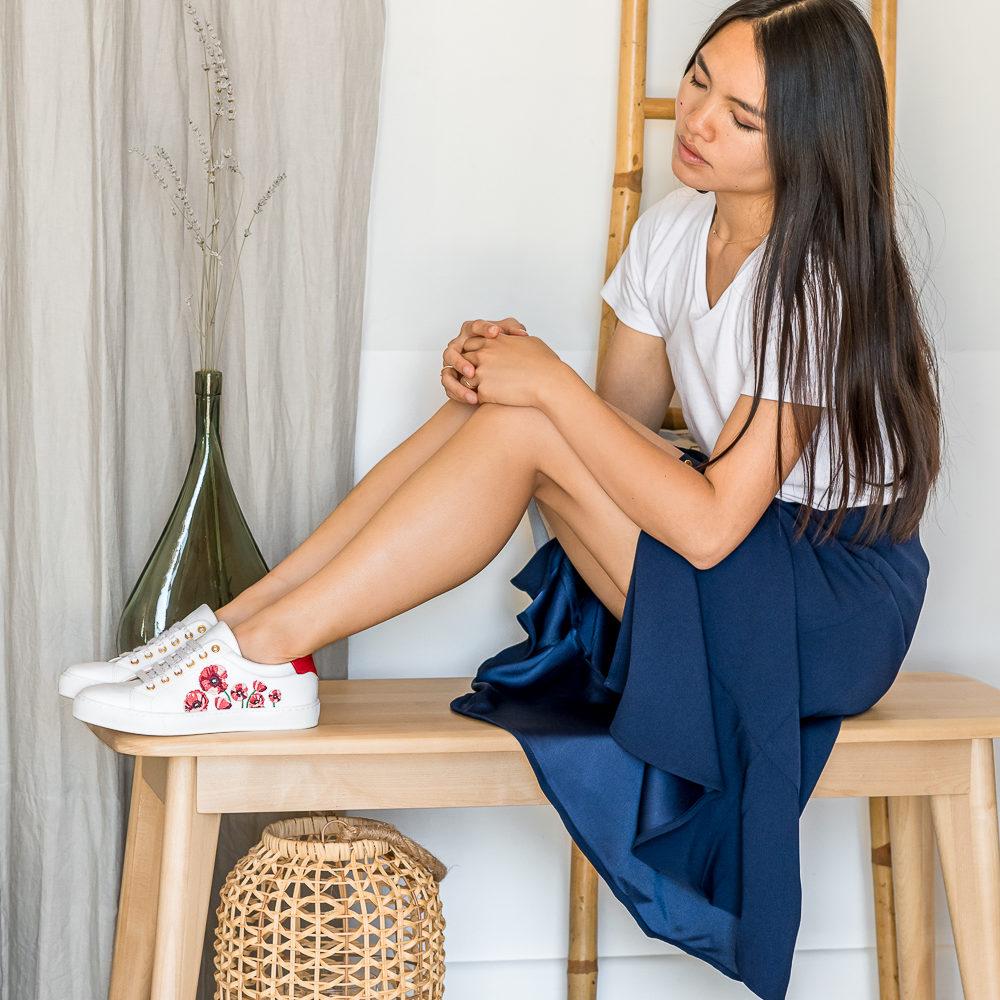 Baskets écoresponsables vegan femme Minuit sur Terre
