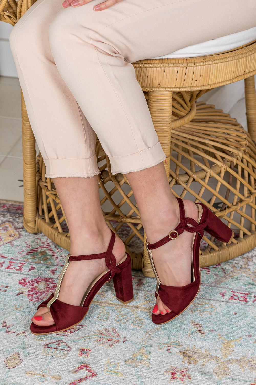 Sandales à talons rouge brique d'occasion vegan écologiques Saudade Minuit sur Terre