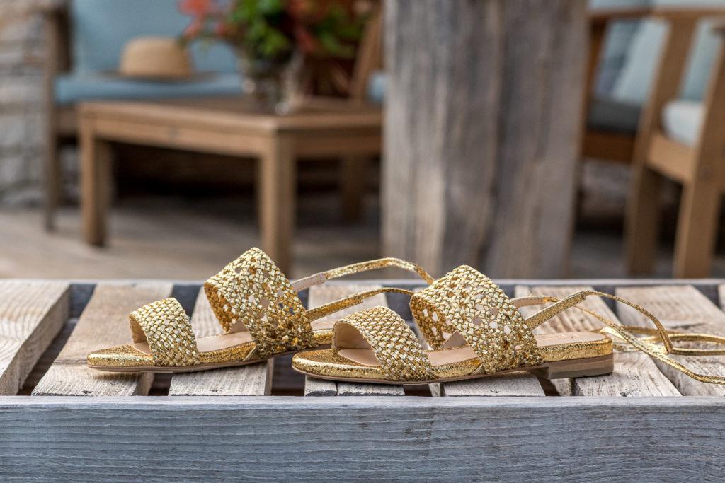 Sandales plates écologiques vegan dorées Roccapina Or Minuit sur Terre